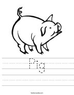 Pig Handwriting Sheet