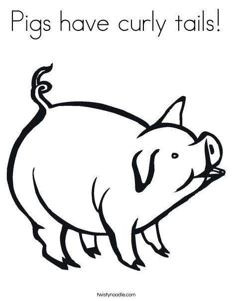 Pigs Have Curly Tails Coloring Page Twisty Noodle