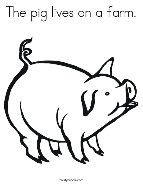 The Pig Lives On A Farm Coloring Page Twisty Noodle