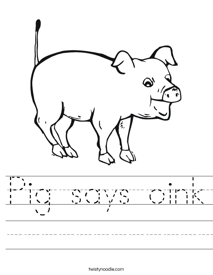 Pig says oink Worksheet