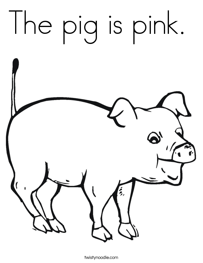 The pig is pink.  Coloring Page