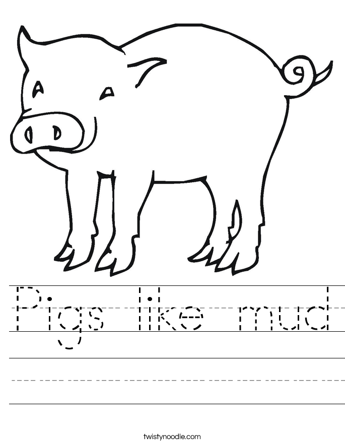 Pigs like mud Worksheet