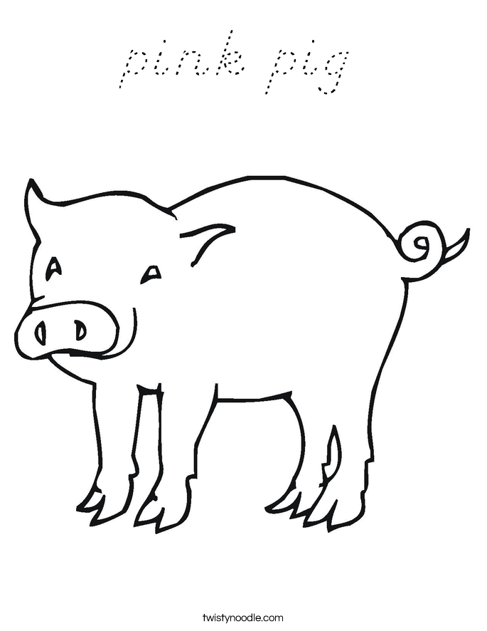 pink pig Coloring Page