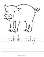 pink pig Handwriting Sheet