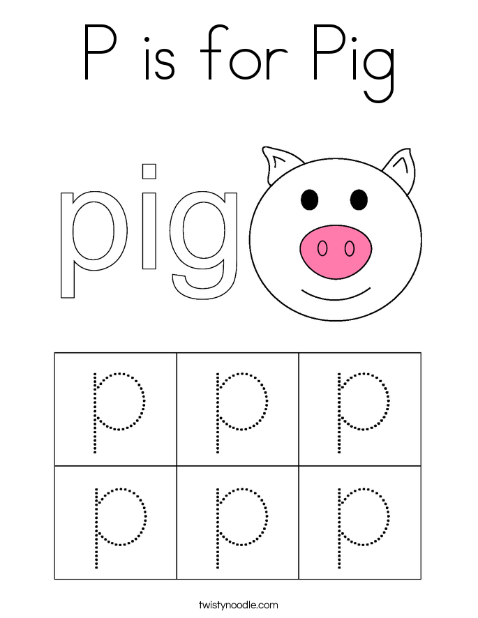 P is for Pig Coloring Page Twisty Noodle