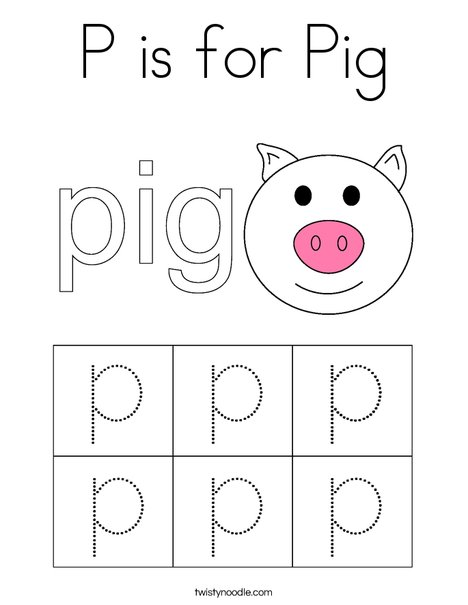 P is for Pig Coloring Page - Twisty Noodle