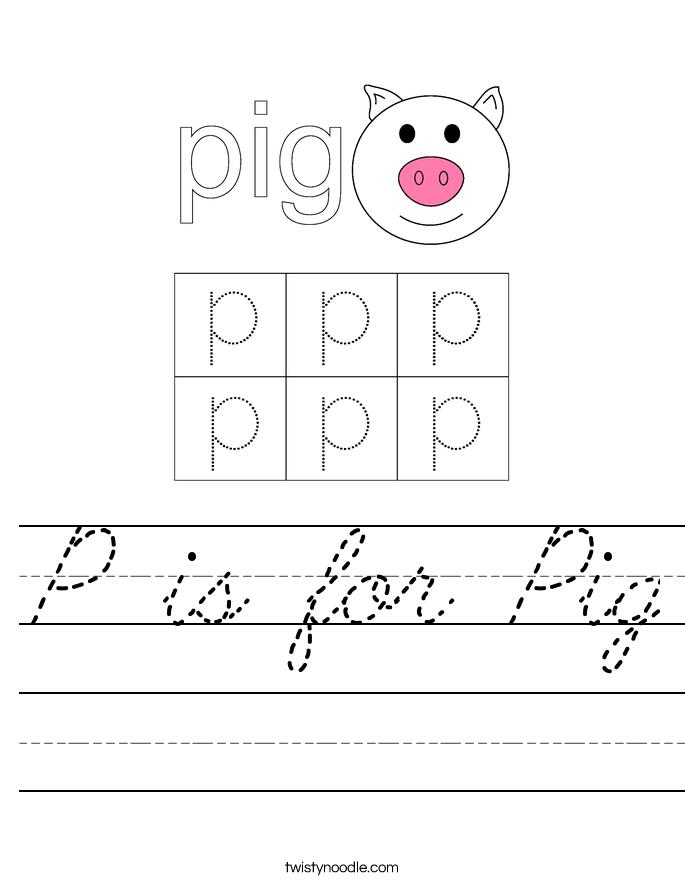 P is for Pig Worksheet