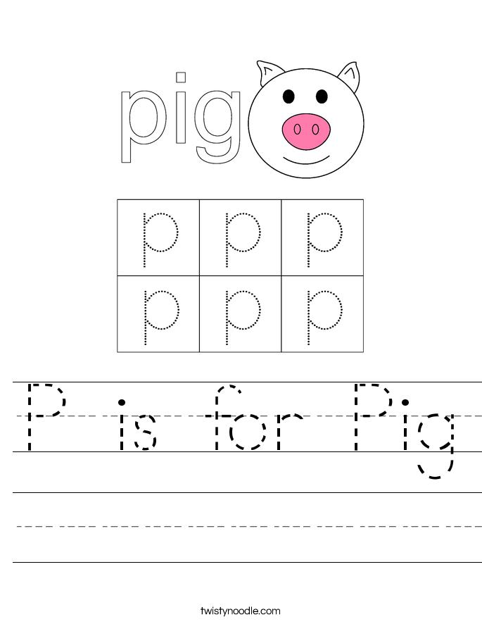 Worksheets For Noodles : P is for pig worksheet twisty noodle