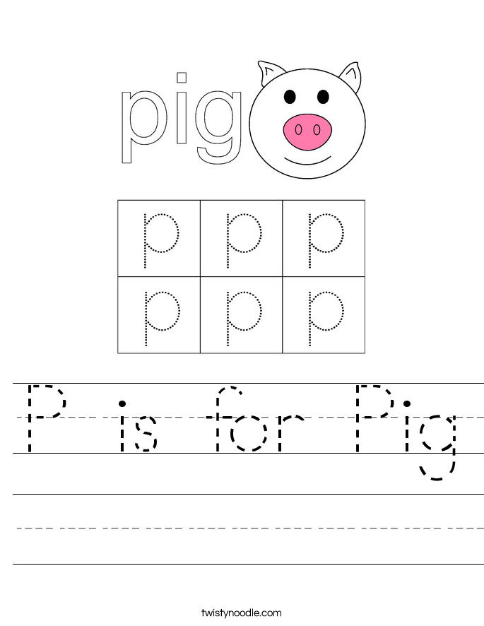 Pig Letter P Worksheets
