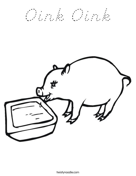 Pig Drinking Coloring Page