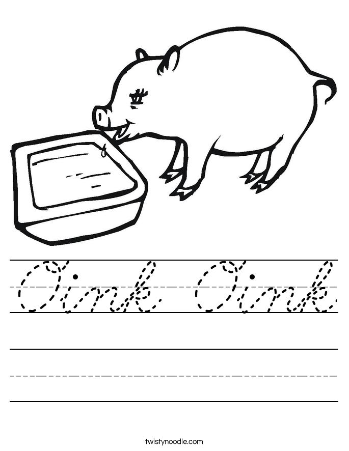 Oink Oink Worksheet