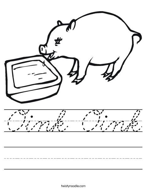 Pig Drinking Worksheet