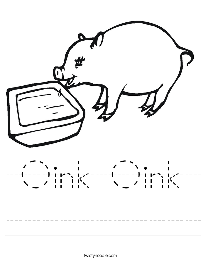 Oink Oink Worksheet