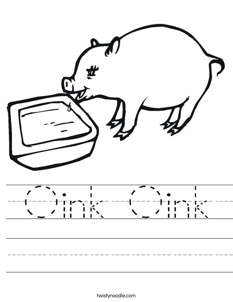 Pig Drinking Worksheet