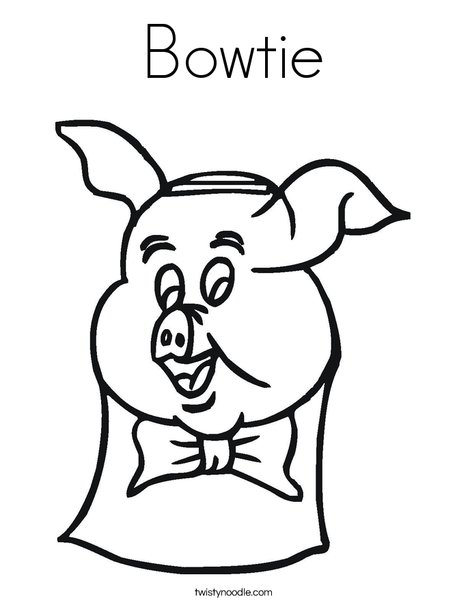 Pig with Bow Tie Coloring Page