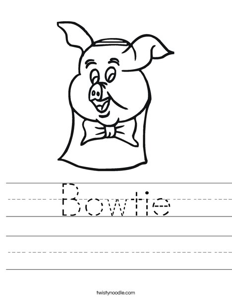 Pig with Bow Tie Worksheet