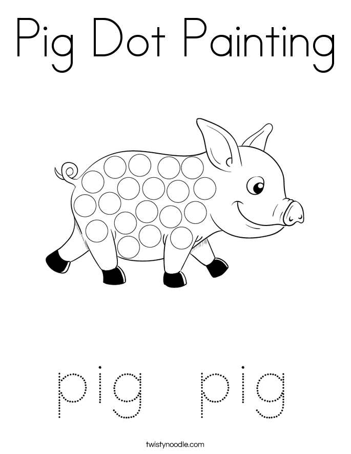 Pig Dot Painting Coloring Page