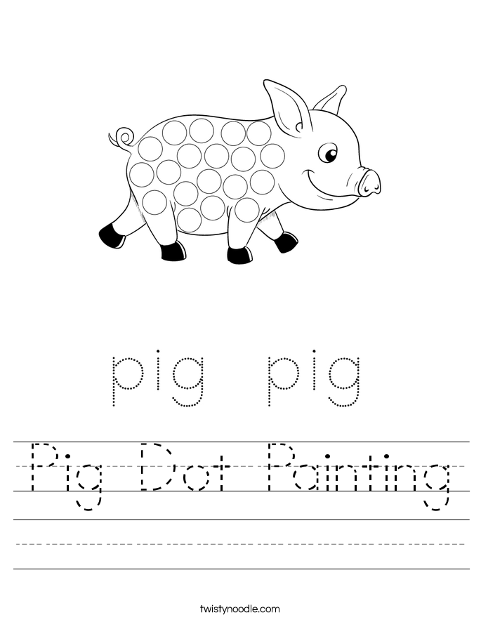 Pig Dot Painting Worksheet