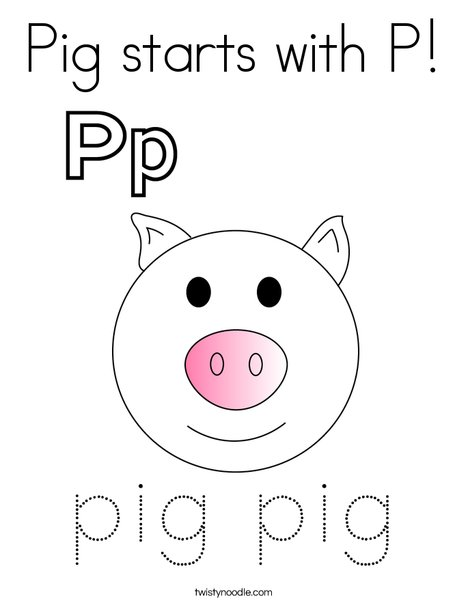 Pig starts with P! Coloring Page
