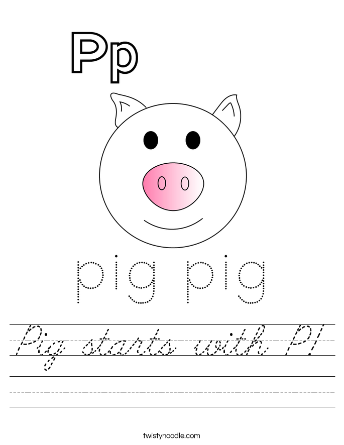 Pig starts with P! Worksheet