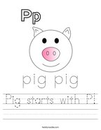 Pig starts with P Handwriting Sheet