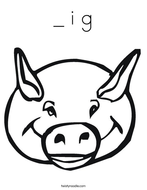 Pig Head Coloring Page