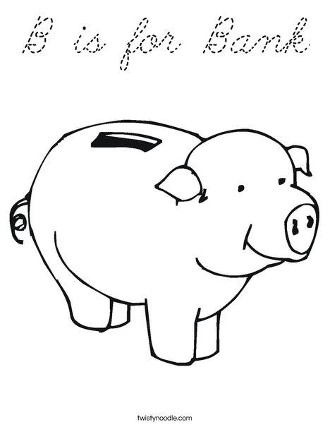 Pig Bank Coloring Page