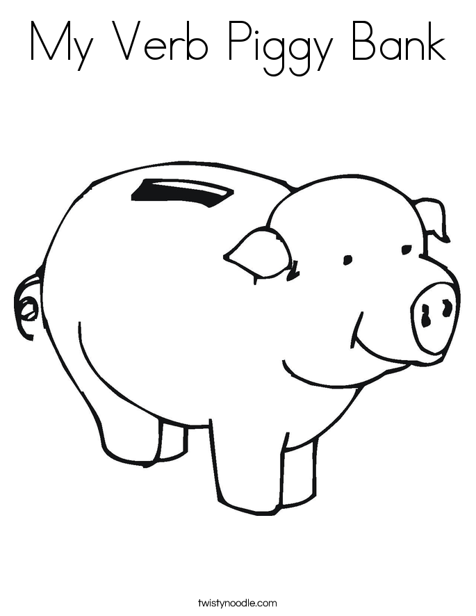My Verb Piggy Bank Coloring Page
