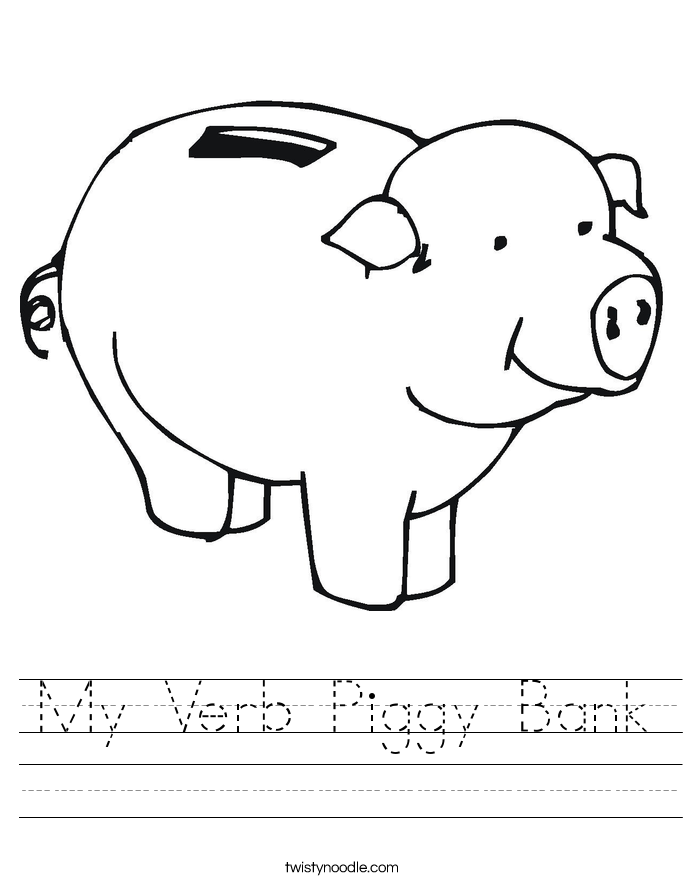 My Verb Piggy Bank Worksheet