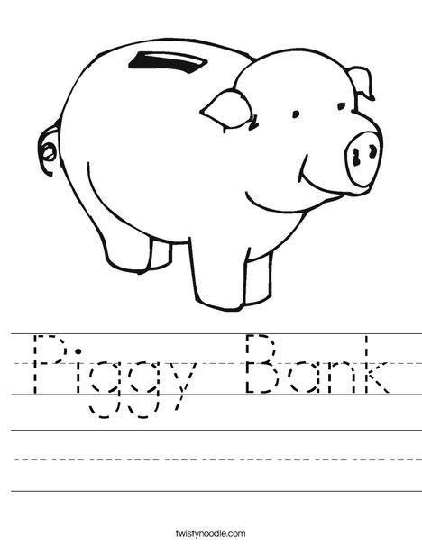 piggy bank worksheet twisty noodle. Black Bedroom Furniture Sets. Home Design Ideas