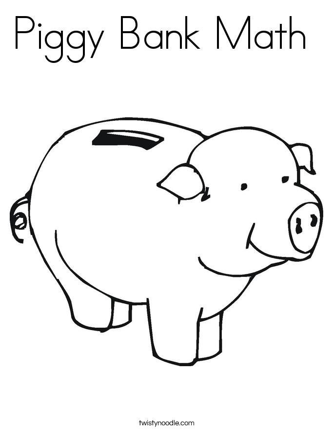 Piggy Bank Math Coloring Page Twisty Noodle