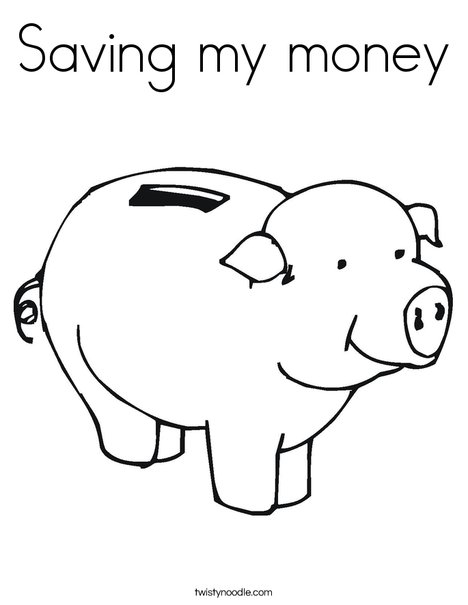 Saving my money Coloring Page - Twisty Noodle