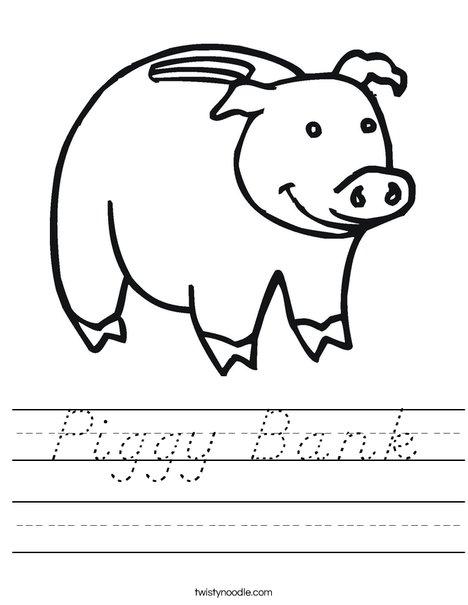 Piggy Bank Worksheet