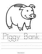 Piggy Bank Handwriting Sheet