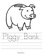 Piggy Bank Handwriting Sheet
