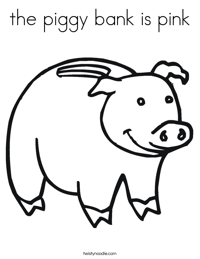 the piggy bank is pink Coloring Page