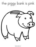 the piggy bank is pinkColoring Page