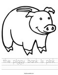 the piggy bank is pink Worksheet