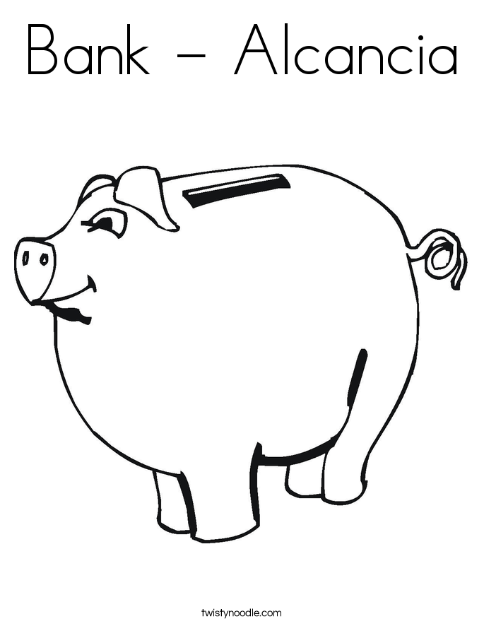 Bank - Alcancia Coloring Page