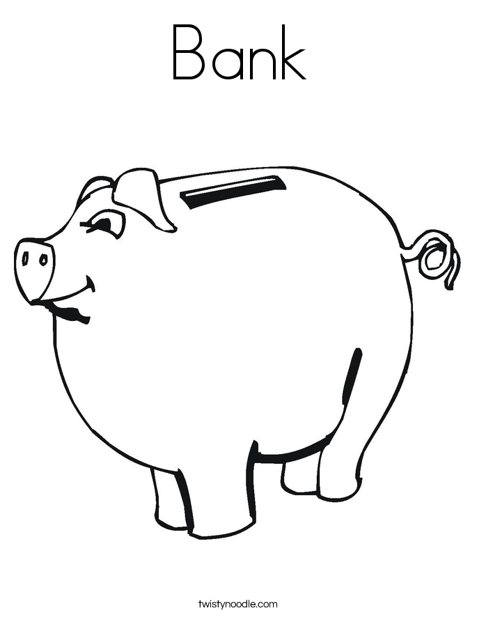 Piggy bank outline for Piggy bank coloring page