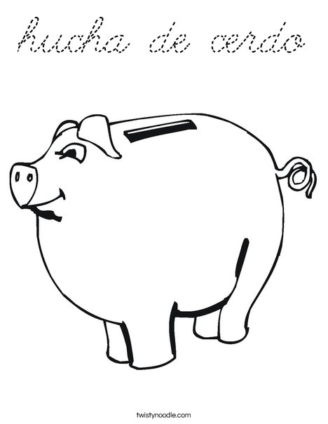 Child's Piggy Bank Coloring Page