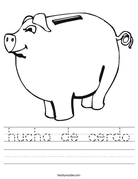 Child's Piggy Bank Worksheet
