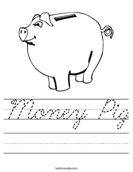 Child's Piggy Bank Worksheet