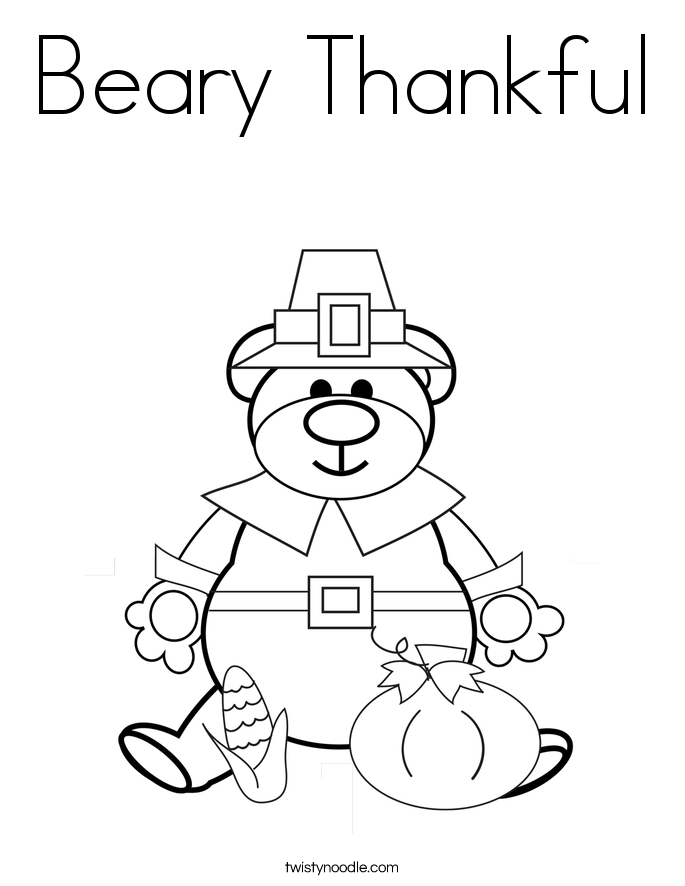 thanksgiving teddy bear coloring pages | Beary Thankful Coloring Page - Twisty Noodle