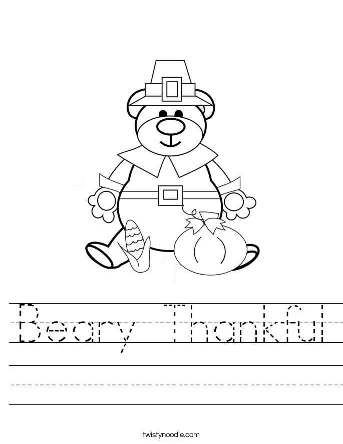 Beary Thankful Worksheet