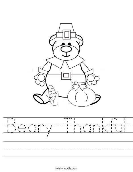 Pilgrim Bear Worksheet