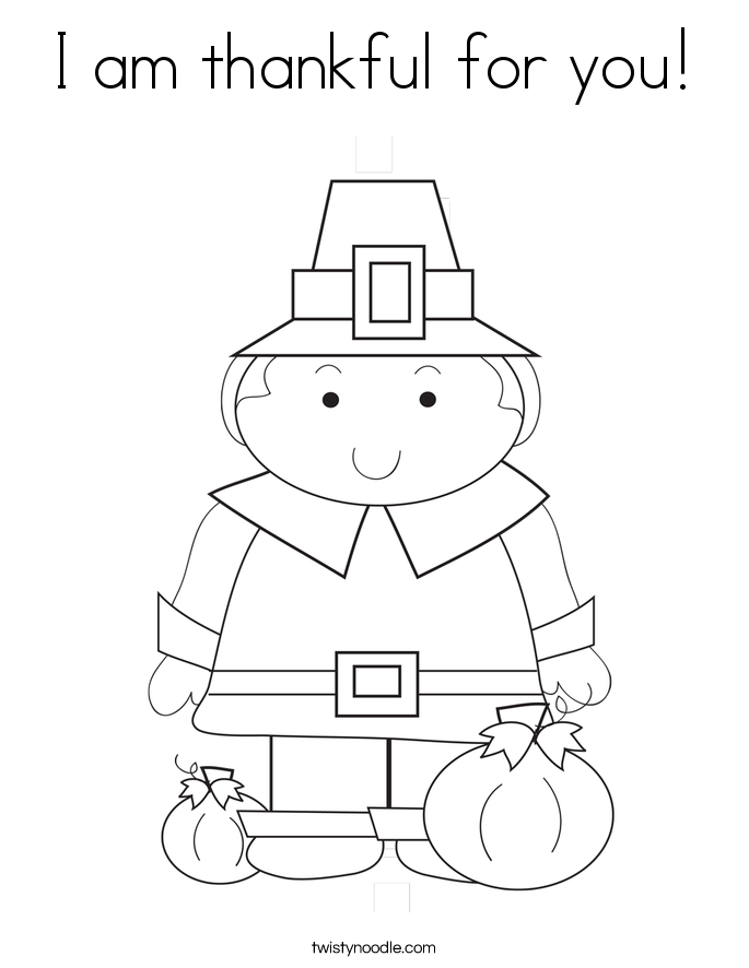 I am thankful for you! Coloring Page