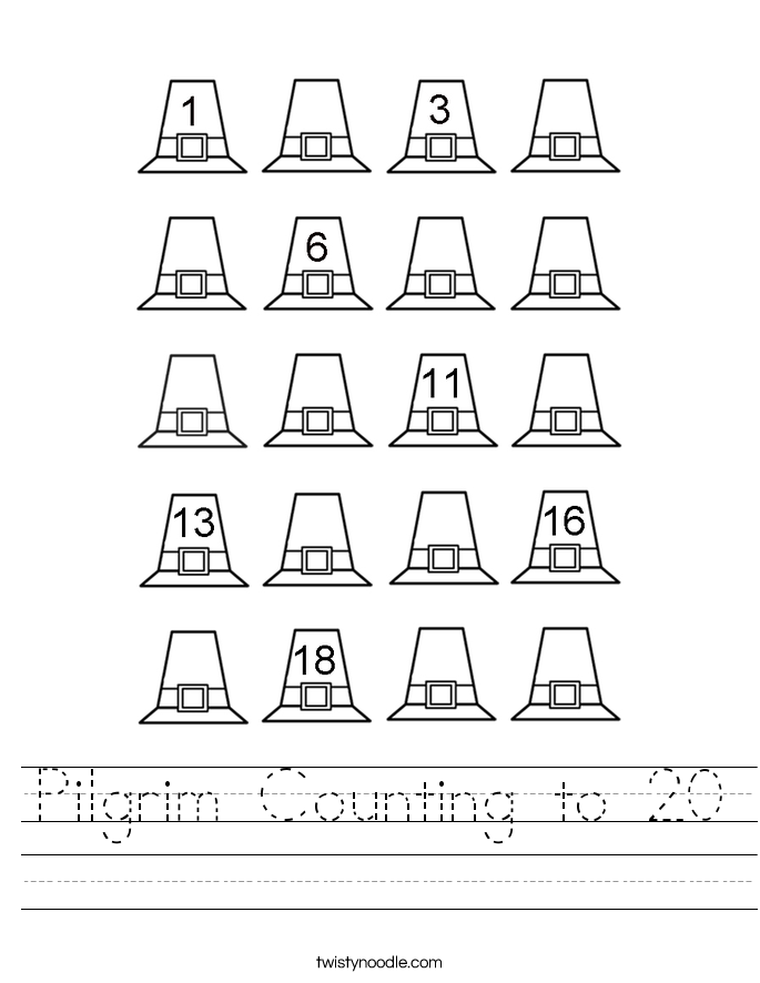 Pilgrim Counting to 20 Worksheet