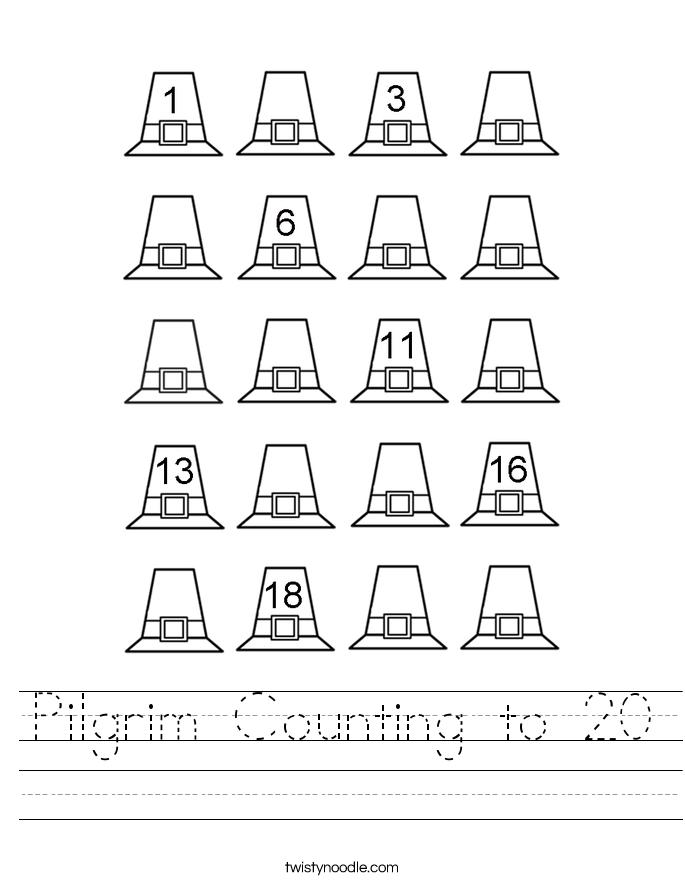 Pilgrim Counting to 20 Worksheet