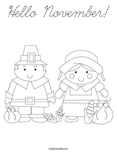 Pilgrim Couple Coloring Page